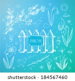 sketches of spring objects ... | Shutterstock .eps vector #184567460