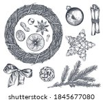 collection of christmas objects ... | Shutterstock .eps vector #1845677080