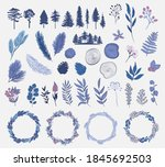 winter plants collection. tree  ... | Shutterstock .eps vector #1845692503