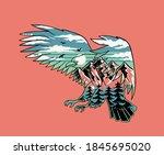vector illustration of a flying ... | Shutterstock .eps vector #1845695020