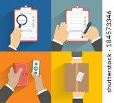 business concept. set of hands... | Shutterstock . vector #184573346