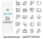 set of online education thin... | Shutterstock .eps vector #1845770410