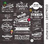 vintage typography summer... | Shutterstock .eps vector #184579010
