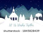 Christmas Scene With Church...
