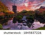 Sunset Over Ancient Pagoda Toji ...