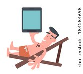 man on the beach chair with... | Shutterstock .eps vector #184584698