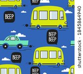 cars  buses  hand drawn... | Shutterstock .eps vector #1845864940