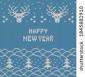 christmas and new year knitted...   Shutterstock .eps vector #1845882910