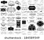 set of calligraphic and floral... | Shutterstock .eps vector #184589549