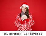 Cheerful Crazy Young Santa...
