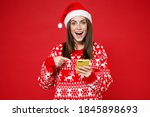 Excited Young Santa Woman In...