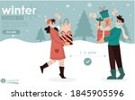 covid winter shopping with... | Shutterstock .eps vector #1845905596