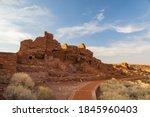 Sunset view of the Wupatki Pueblo ruins in Wupatki National Monument at Flagstaff, Arizona