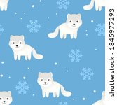 funny arctic white fox and... | Shutterstock .eps vector #1845977293