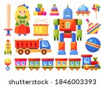 kids toys set with train  robot ... | Shutterstock .eps vector #1846003393