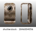 old metal door with porthole ... | Shutterstock .eps vector #1846004056
