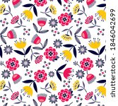 daisies and floral botanical... | Shutterstock .eps vector #1846042699