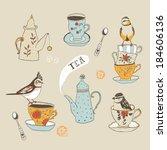 teatime. birds  teacups and... | Shutterstock .eps vector #184606136