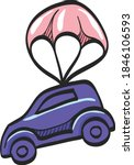 Car Parachute Icon In Color...