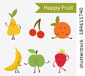 happy fruit characters... | Shutterstock .eps vector #184611740