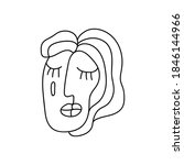 sad face in continuous line...   Shutterstock .eps vector #1846144966