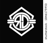 EO logo monogram with circle shape isolated hexagon emblem rounded design template on black background