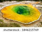 Small photo of Morning Glory Lake in Yellowstone Park. Yellowstone Glory Lake. Glory Lake Yellowstone. Yellowstone Glory Lake view