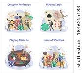 croupier concept set. person in ...   Shutterstock .eps vector #1846255183