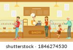 people choosing desserts and... | Shutterstock .eps vector #1846274530