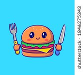 cute burger holding knife and... | Shutterstock .eps vector #1846275343
