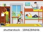 Hostel Room Interior With...