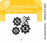 man running on gears icon with...