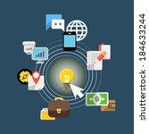 digital media industry. flat... | Shutterstock .eps vector #184633244