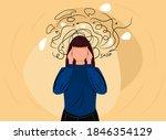 woman headache or anxiety... | Shutterstock .eps vector #1846354129