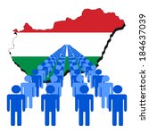 lines of people with hungary... | Shutterstock .eps vector #184637039