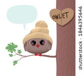 a cute owlet in a warm hat sits ... | Shutterstock .eps vector #1846395646