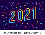 2021. greeting card with... | Shutterstock .eps vector #1846398943