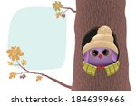 a cute owlet in a warm hat sits ... | Shutterstock .eps vector #1846399666