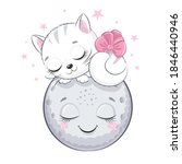 cute kitten is sleeping on the...   Shutterstock .eps vector #1846440946