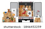 delivery truck full of home... | Shutterstock .eps vector #1846452259