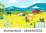 farm cartoon landscape  vector... | Shutterstock .eps vector #1846463326