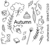 abstract autumn doodle set for... | Shutterstock .eps vector #1846471210