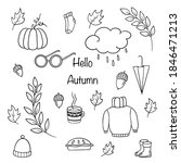 abstract autumn doodle set for... | Shutterstock .eps vector #1846471213
