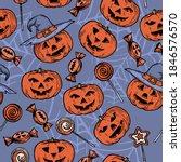 patten with pumpkins for... | Shutterstock .eps vector #1846576570