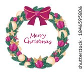 christmas wreath made of spruce ... | Shutterstock .eps vector #1846595806