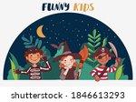 cute kids in carnival costumes. ... | Shutterstock .eps vector #1846613293