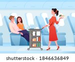hospitality service in airplane ... | Shutterstock .eps vector #1846636849