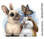 little rabbits with a butterfly ... | Shutterstock .eps vector #1846639540