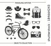 hipster traveling objects... | Shutterstock .eps vector #184664243