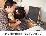 male architect using 3d printer ... | Shutterstock . vector #184664570